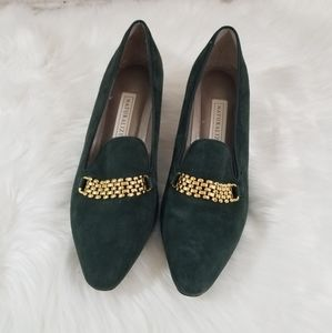 NATURALIZER Green and Gold Pointes Toe Loafer